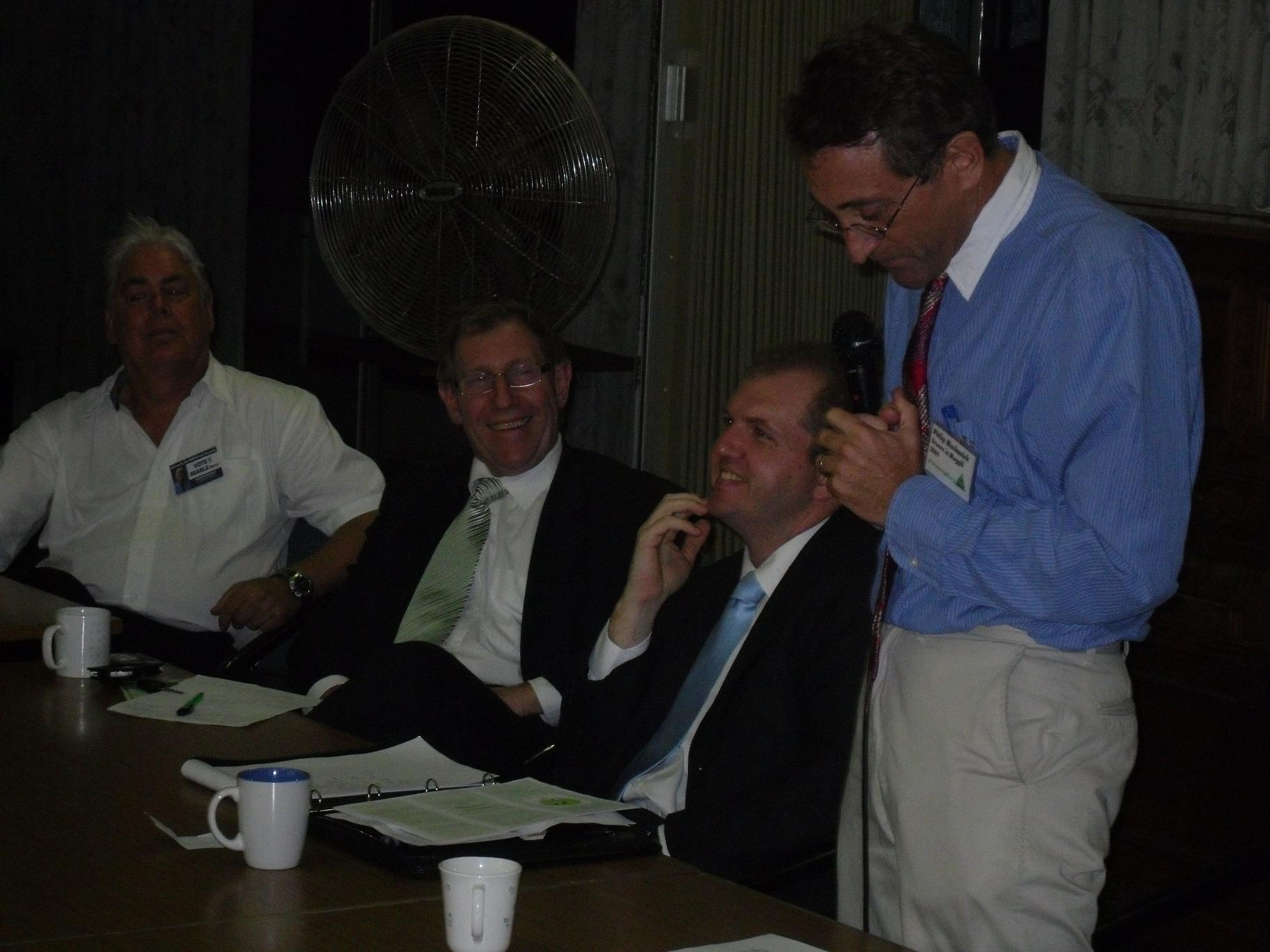 (Left to right) independent Barry Searle, Liberal Bruce Flegg, DS4SEQ candidate Andrew Bradbury and The Greens' Philip Machanick