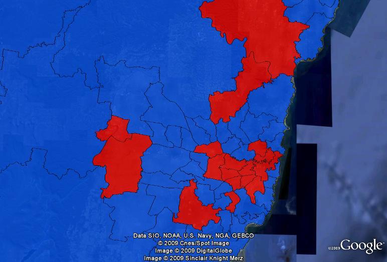 Gender of state MPs in Sydney. Red = women, blue = men.