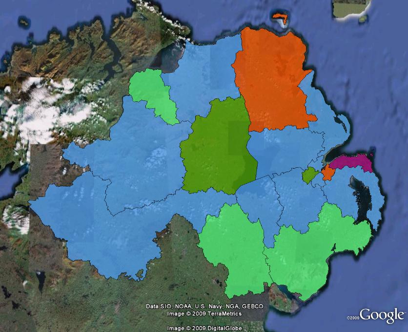 Results of the 1997 general election in Northern Ireland. Parties shown are the Ulster Unionist Party (blue), Social Democratic and Labour Party (light green), Democratic Unionist Party (orange), Sinn Fein (dark green) and the UK Unionist Party (purple)