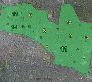 Primary vote for the Greens, 2007 election, by booth. Below-median booths are coloured yellow.