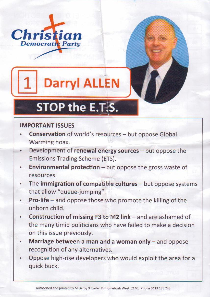 Other side of Darryl Allen's how-to-vote.