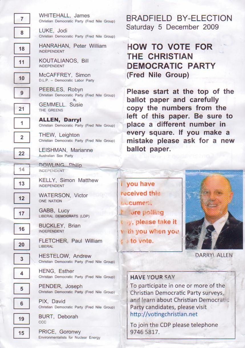 Darryl Allen's how-to-vote for Bradfield by-election.