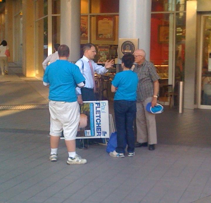 Paul Fletcher leaving Westfield Hornsby - and taking his signs with him - very shortly after arriving Thursday evening.