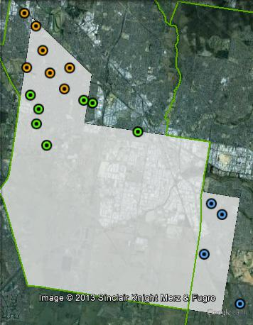 Polling places in Lyndhurst at the 2010 state election. Hampton Park in blue, Keysborough in green, Springvale in orange.
