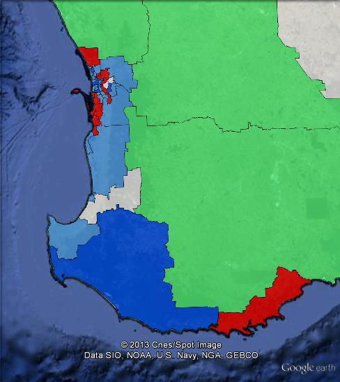 Results of the 2013 WA state election in the South West of the state.
