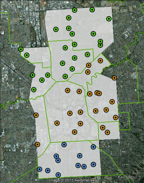 Polling places in Adelaide at the 2010 federal election. Central in orange, North in green, South in blue. Click to enlarge.