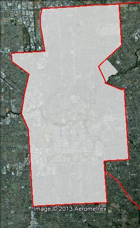 Map of Adelaide's 2010 and 2013 boundaries. 2010 boundaries appear as red line, 2013 boundaries appear as white area. Click to enlarge.