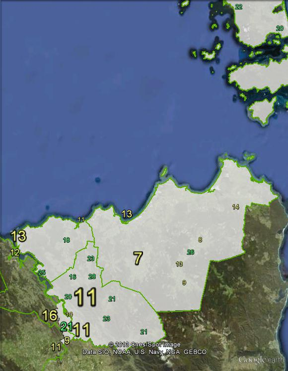 Greens primary votes in Bass at the 2010 federal election.