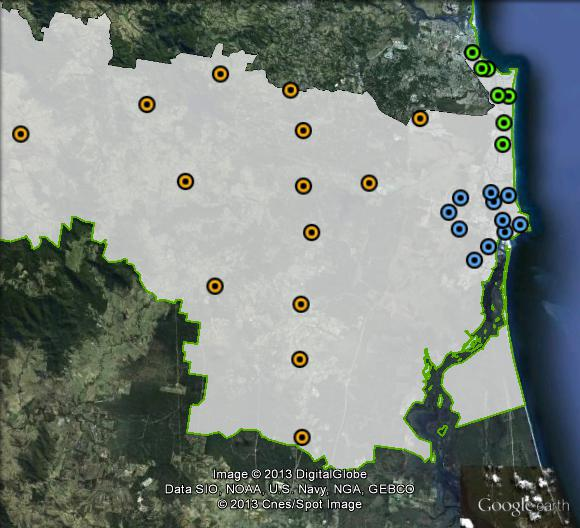 Polling places in Fisher at the 2010 federal election. Caloundra in blue, Coast in green, Inland in orange. Click to enlarge.