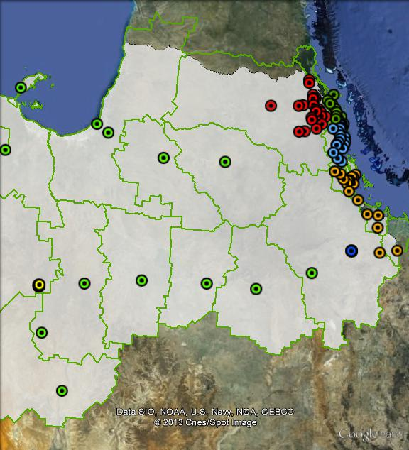 Polling places in Kennedy at the 2010 federal election. Cassowary Coast in light blue, Charters Towers in dark blue, Hinchinbrook in orange, Mount Isa in yellow, Mulgrave in dark green, Tablelands in red, West in light green. Click to enlarge.