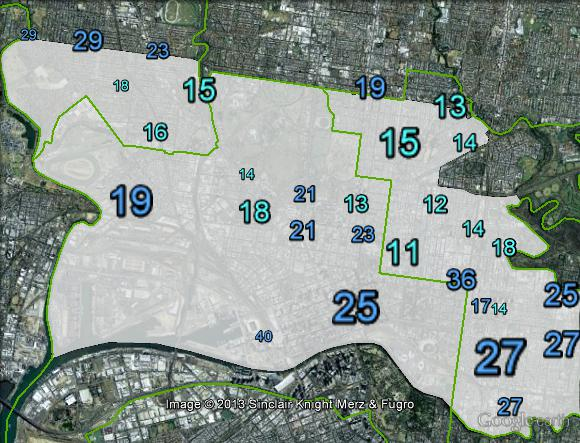 Liberal primary votes in Melbourne at the 2010 federal election.