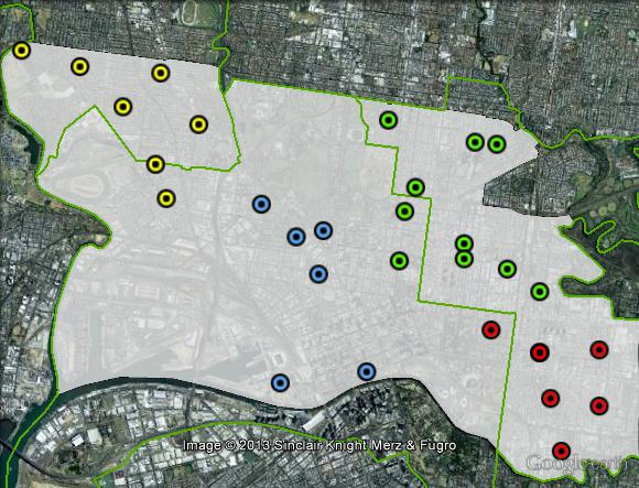 Polling places in Melbourne at the 2010 federal election. Central in blue, North-East in green, South-East in red, West in orange. Click to enlarge.
