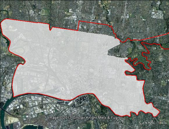 Map of Melbourne's 2010 and 2013 boundaries. 2010 boundaries appear as red line, 2013 boundaries appear as white area. Click to enlarge.