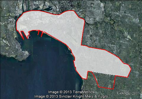 Map of Melbourne Ports' 2010 and 2013 boundaries. 2010 boundaries appear as red line, 2013 boundaries appear as white area. Click to enlarge.