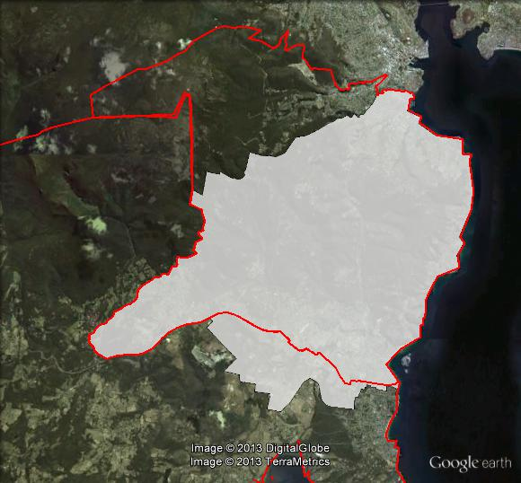 Nelson's current and previous boundaries. 1999-2008 boundaries shown as red line, 2009-2013 boundaries shown as white area. Click to enlarge.