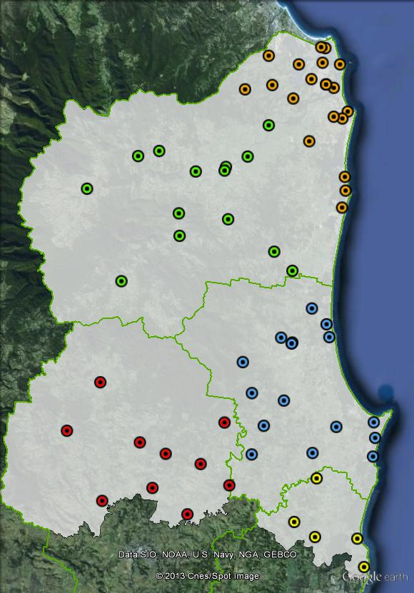 Polling places in Richmond at the 2010 federal election. Ballina in yellow, Byron in blue, Lismore in red, Tweed Heads and Coast in orange, Tweed Valley in green. Click to enlarge.