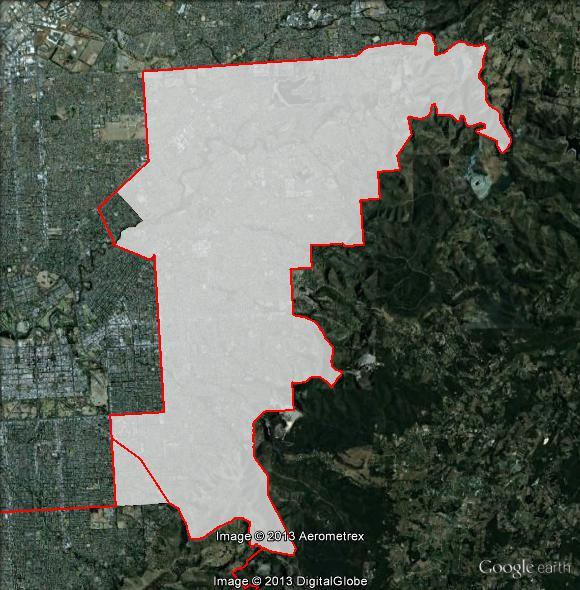 Map of Sturt's 2010 and 2013 boundaries. 2010 boundaries appear as red line, 2013 boundaries appear as white area. Click to enlarge.