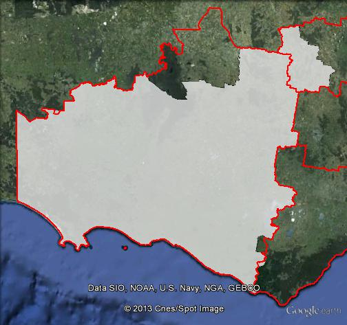 Map of Wannon's 2010 and 2013 boundaries. 2013 boundaries shown as white area, 2010 boundaries shown as red lines. Click to enlarge.