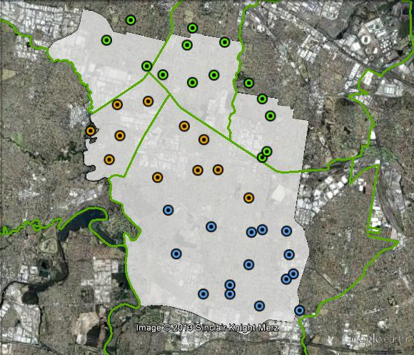 Polling places in Blaxland at the 2010 federal election. Central in orange, North in green, South in blue. Click to enlarge.