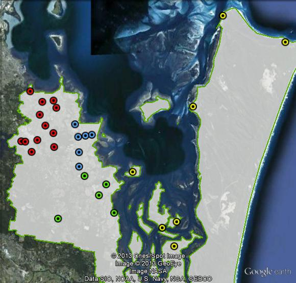 Polling places in Bowman at the 2010 federal election. Central in blue, Islands in yellow,  South in green, West in red. Click to enlarge.