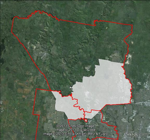 Map of Calwell's 2010 and 2013 boundaries. 2010 boundaries marked as red lines, 2013 boundaries marked as white area. Click to enlarge.