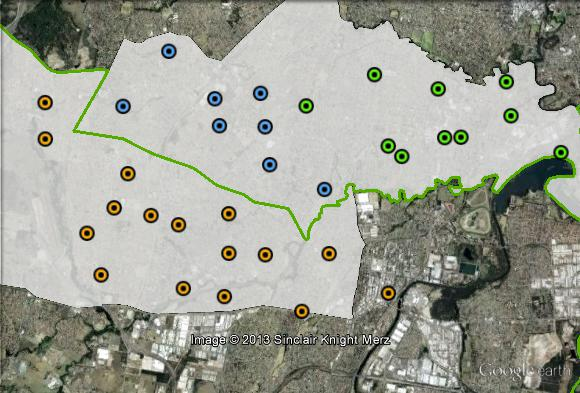 Polling places in Fowler at the 2010 federal election. Bonnyrigg-Mt Pritchard in blue, Cabramatta in green, Liverpool in orange. Click to enlarge.