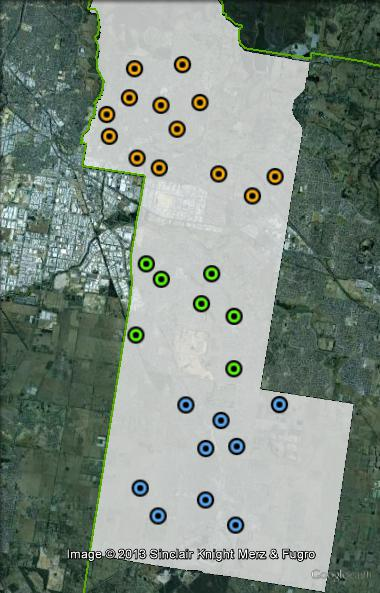 Polling places in Holt at the 2010 federal election. Central in green, North in orange, South in blue. Click to enlarge.