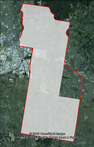 Map of Holt's 2010 and 2013 boundaries. 2010 boundaries marked as red lines, 2013 boundaries marked as white area. Click to enlarge.