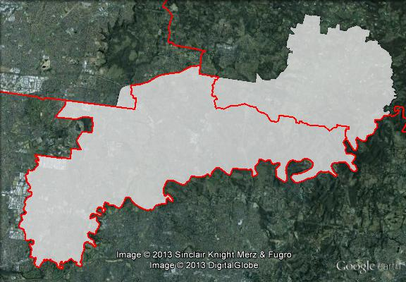 Map of Jagajaga's 2010 and 2013 boundaries. 2010 boundaries marked as red lines, 2013 boundaries marked as white area. Click to enlarge.