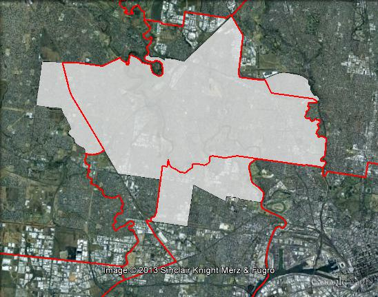 Map of Maribyrnong's 2010 and 2013 boundaries. 2010 boundaries marked as red lines, 2013 boundaries marked as white area. Click to enlarge.