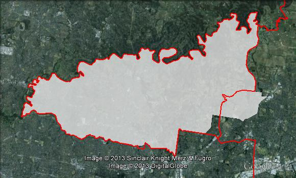 Map of Menzies' 2010 and 2013 boundaries. 2010 boundaries marked as red lines, 2013 boundaries marked as white area. Click to enlarge.