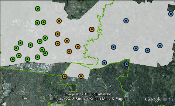 Polling places in Scullin at the 2010 federal election. Central in orange, East in blue, West in green. Click to enlarge.