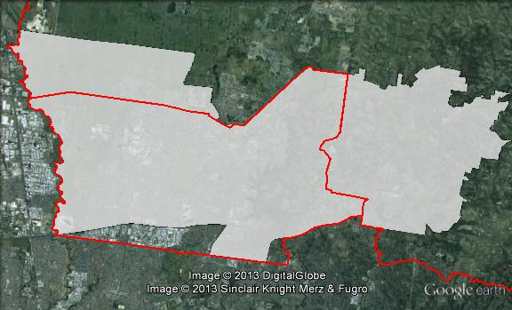 Map of Scullin's 2010 and 2013 boundaries. 2010 boundaries marked as red lines, 2013 boundaries marked as white area. Click to enlarge.