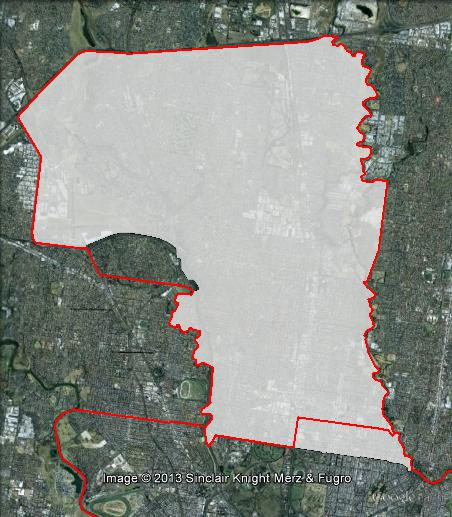 Map of Wills' 2010 and 2013 boundaries. 2010 boundaries marked as red lines, 2013 boundaries marked as white area. Click to enlarge.