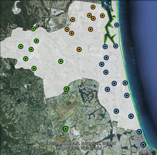 Polling places in Moncrieff at the 2010 federal election. East in blue, North in orange, West in green. Click to enlarge.