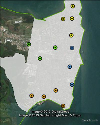 Polling places in Redcliffe at the 2012 Queensland state election. Kippa-Ring in green, Redcliffe in blue, Scarborough in yellow, South in orange. Click to enlarge.