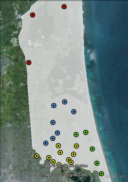 Polling places in Christchurch East at the 2011 general election. Burwood in blue, New Brighton in green, North in red, South in yellow. Click to enlarge.