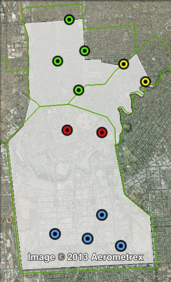Polling places in Adelaide at the 2010 state election. Adelaide in blue, North Adelaide in red, Prospect in green, Walkerville in yellow. Click to enlarge.