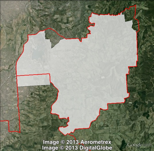 Map of Fisher's 2010 and 2014 boundaries. 2010 boundaries marked as red lines, 2014 boundaries marked as white area. Click to enlarge.