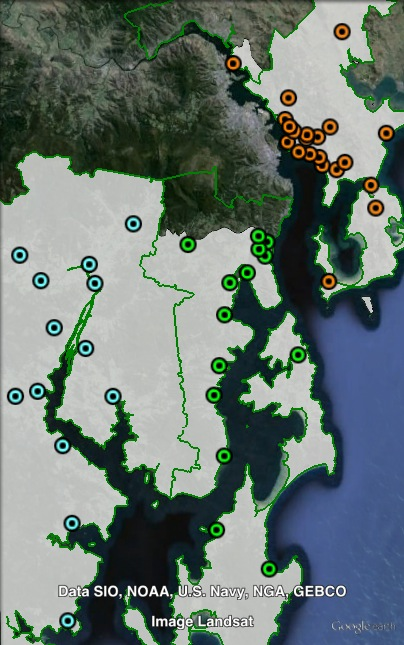 Polling places in Franklin at the 2010 state election. Clarence in orange, Huon Valley in blue, Kingsborough in green. Click to enlarge.