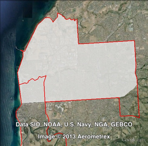 Map of Reynell's 2010 and 2014 boundaries. 2010 boundaries marked as red lines, 2014 boundaries marked as white area. Click to enlarge.