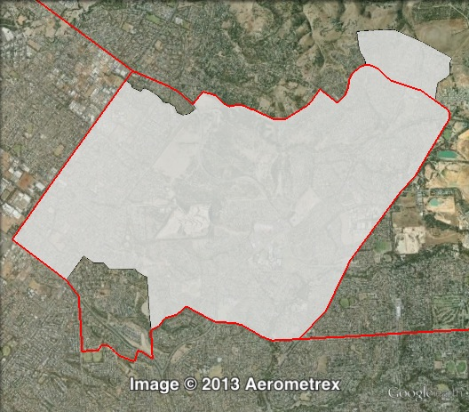 Map of Wright's 2010 and 2014 boundaries. 2010 boundaries marked as red lines, 2014 boundaries marked as white area. Click to enlarge.