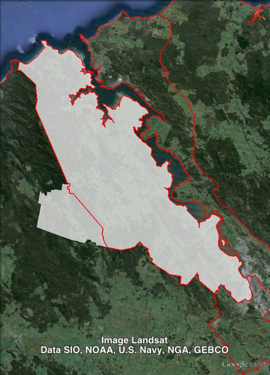 Rosevears' current and previous boundaries. 1999-2008 boundaries shown as red line, 2009-2013 boundaries shown as white area. Click to enlarge.