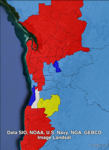 Results of the 2014 election in Adelaide. Labor seats in red, Liberal seats in blue, independent seats in yellow, undecided seats in white. Seats won by the Liberal Party off the ALP in dark blue.