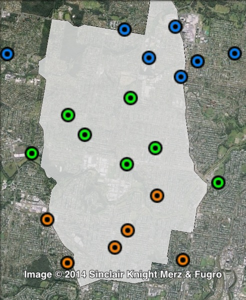 Polling places in Stafford at the 2012 state election. Central in green, North in blue, South in orange. Click to enlarge.