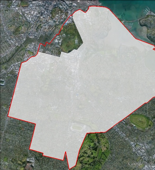Map of Epsom's 2011 and 2014 boundaries. 2011 boundaries marked as red lines, 2014 boundaries marked as white area. Click to enlarge.