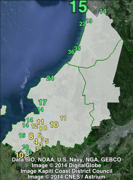 Green party votes in Mana at the 2011 general election.