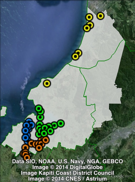 Polling places in Mana at the 2011 general election. Central in green, North in yellow, South in orange, West in blue. Click to enlarge.