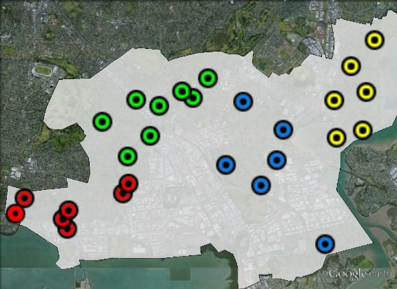 Polling places in Maungakiekie at the 2011 general election. Ellerslie in green, Mt Wellington in blue, Onehunga in red, Panmure in yellow. Click to enlarge.
