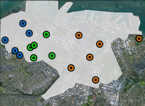 Polling places in Auckland Central at the 2011 general election. Central in green, East in orange, West in blue. Click to enlarge.